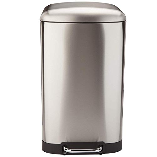 KITCHEN MOVE 905567E Black SS - Papelera de Cocina con Pedal, Capacidad 40 L, 38 x 35 x 67 cm, Acero Inoxidable Cepillado, 38 x 35 x 67 cm