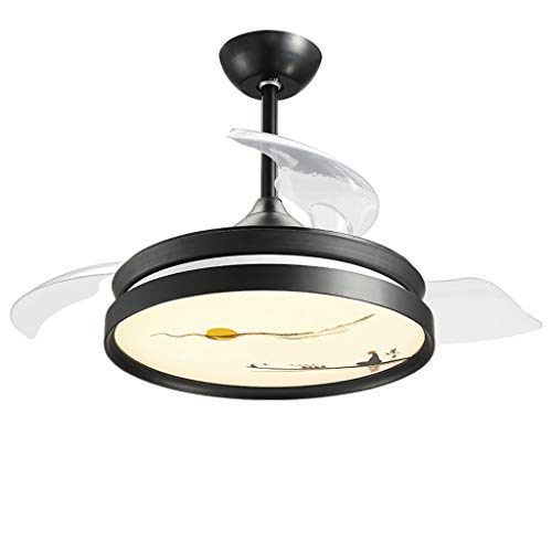 Xinjin Ceiling Fan Light, Dimmable LED Chandelier with Retractable Invisible Blades and Remote Control, Silent Motor, for Living Room Bedroom Restaurant