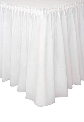 Vetrineinrete® Gonna da Tavolo tovaglia plastificata con Adesivo per tavola Decorazione per Feste Compleanno Battesimi Eventi Matrimoni 73x426 cm 306406 (Bianco) C40