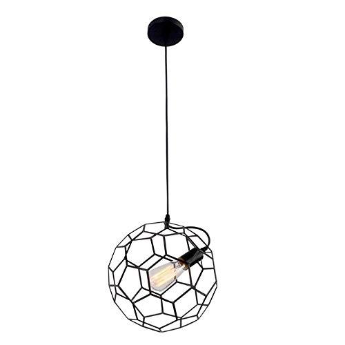 LLLKKK Creativa lámpara colgante de bola hueca, lámpara de techo industrial, jaula negra, fijación de lámpara vintage Loft, lámpara de diseño Edison para la sala de estar, dormitorio