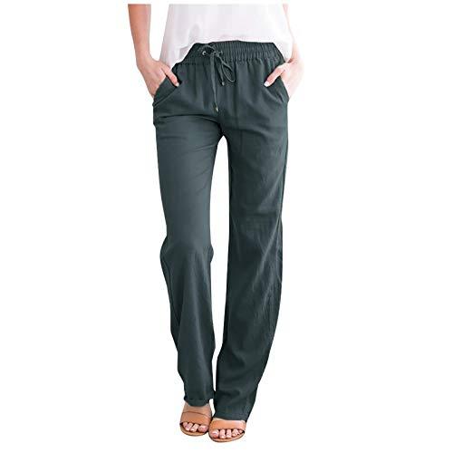 AOZLOVEC Pantalones sueltos casuales Mujer Lino Medio cordón Bolsillos de cintura elástica Pantalones largos rectos de pierna ancha L Gris oscuro