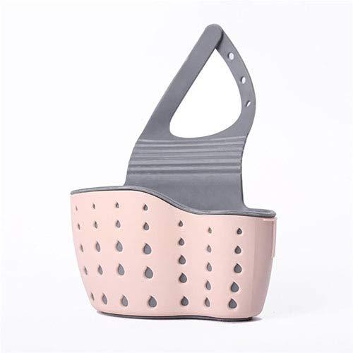 XiaoYing Canasta de drenaje para fregadero de cocina, soporte de jabón de silicona, grifo de esponja de drenaje, accesorios de herramientas de cocina (color rosa, tamaño: mediano)