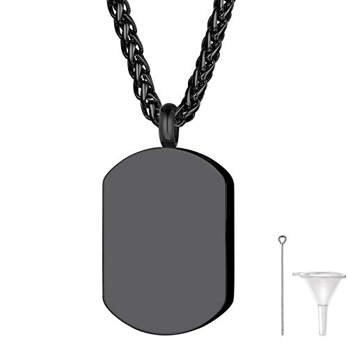 Black Military Dog Tag Cremation Necklace for Ashes for Men Dad Grandpa Stainless Steel Urn Keepsake Pendant with Wheat Chain