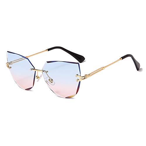 NJJX Gafas De Sol De Ojo De Gato Sin Montura De Moda Gafas De Sol De Metal Para Mujer Gafas De Sol Para Mujer 01