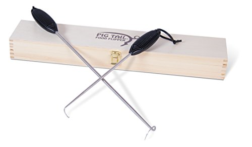 Jaccard Original Combo Set Wooden Gift Box,19-Inch/12-Inch, Plastic Handles Pigtail Food Flipper, Barbeque Hook, Pig Tail, Black/Stainless Steel