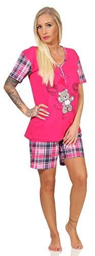 Damen Schlafanzug kurz 40-42/M, Pink hautsympatisch modisch Sommerlich Pyjama kurzer arm fraulich verspielt