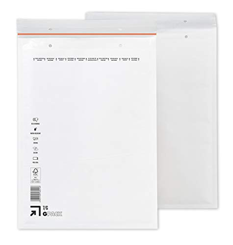 100 Luftpolsterumschläge 250 x 350 mm | Luftpolstertasche G7 | weiße Versandtasche DIN A4+ | verschiedene Mengen wählbar