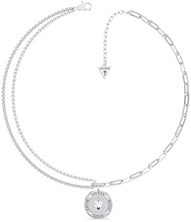 Guess Necklace Guess With Love From Ubn70000 Stainless Steel Rhodium Plated Heart Swarovski Currency