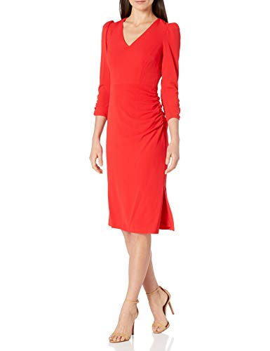 Eliza J Women's Long Ruched Sleeve Bodycon Midi Casual Dress, Red, 16