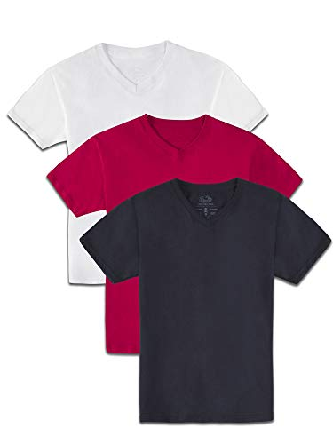 Fruit of the Loom Jungen T-Shirts, kurzärmelig, weich, V-Ausschnitt, Weiß, Rot, Schwarz, Größe XXL