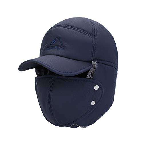 SHENTIANWEI Herrenhut Neue Art und Weise koreanische Wilde Freizeit Dicke Warmer Winterwind Masken Ohr Kappe Lei Feng Kappe (Color : Blue, Size : Einheitsgröße)