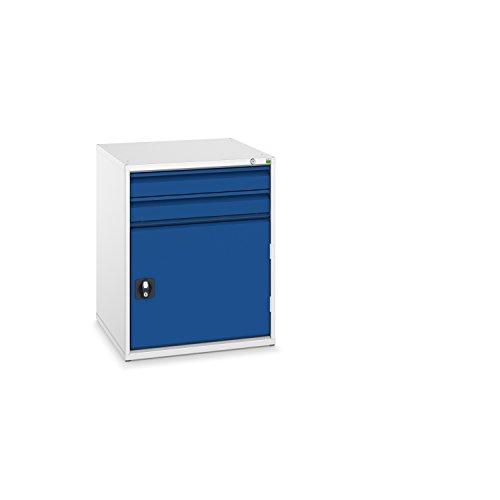 bott verso+ Schubladenschrank mit 2 Schubladen, 1 Tür und Zentralschloss, 650 x 650 x 800 mm, 1 Stück, 40034025.11
