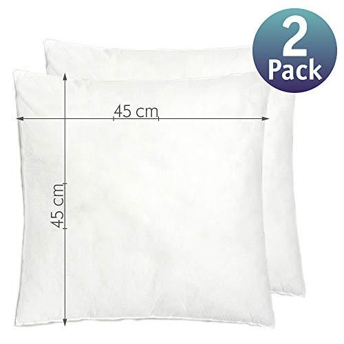 Relleno cojín 45x45 | Relleno almohada. Relleno de fibra hueca, hipoalergénico, indeformable y lavable. 100% poliéster. Varias medidas. (45 x 45 / Pack 2)