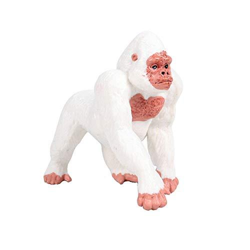 FLORMOON Gorilla Figurine Realistico Gorilla Giocattolo Figura Animale Giocattoli educativi precoci Progetto di scienze Natale Regalo di Compleanno per Bambini (Bianca)