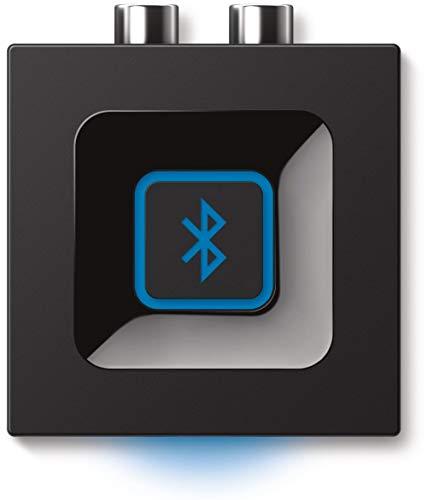 Logitech Kabelloser Bluetooth Audio-Empfänger, Multipoint Bluetooth, 3,5 mm & Cinch-Eingang, Pairing-Taste, 15 m Reichweite, UK Stecker, PC/Mac/Tablet/Handy/AV-Receiver/Stereoanlage - schwarz
