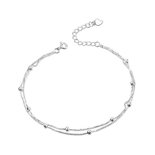 Sterling Silver Anklets Ankle Bracelets for Women Teen Girls Layered Chain Ball and Bead DoubleChain Anklets Jewellery Gifts