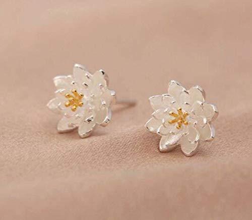 WOZUIMEI S925 Pendientes de Plata Pendientes de Flor de Loto para Mujer Pendientes de Mujer Joyería TransparentePendientes plata S925 Lotus