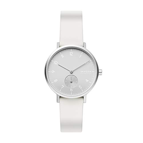 Skagen Women's Aaren Quartz Analog Stainless Steel and Silicone Watch, Color: White (Model: SKW2763)