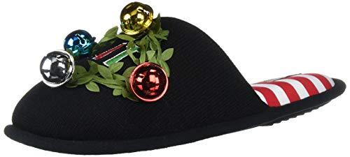Dearfoams Women's Unisex Holiday Funny Character Ugly Sweater Scuff Slipper, Get Lit Black, Medium