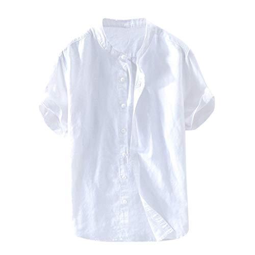 Yowablo Bluse Herren Baggy Baumwolle Leinen Solide Kurzarm Knopf Retro T Shirts Tops (3XL,Weiß)