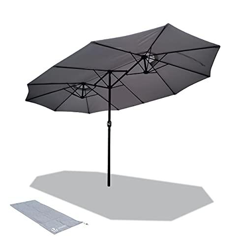 VOUNOT 4.6m Double Garden Parasol, Extra Large Rectangular Patio Table Umbrella, with Crank Handle, Protective Cover, UV 50+, Grey
