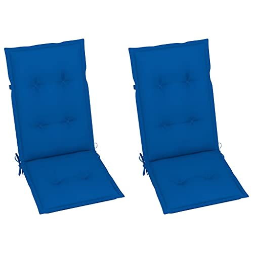 vidaXL 2X Cojines para Sillas de Jardín Asiento Tumbonas Patio Terraza Exterior Acolchado Almohadilla Cómoda Práctico Azul Royal 120x50x7 cm