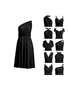 72STYLES Bridesmaid Convertible Dress Wedding Prom Party Cocktail Infinity Short Wrap Dress with Bandeau Black