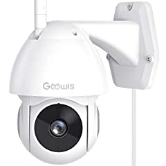 Goowls wired outdoor security camera with 1080 high resolution can cover more spaces even in the pitch dark with a night vision distance up to 32ft. Camera works with 2.4G WiF(Not supported 5G network). 360° Pan/Tilt & Easy to Setup: Providing a 355°...
