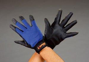 エスコ [L]手袋(ポリウレタン/黒・青) EA353BG-77