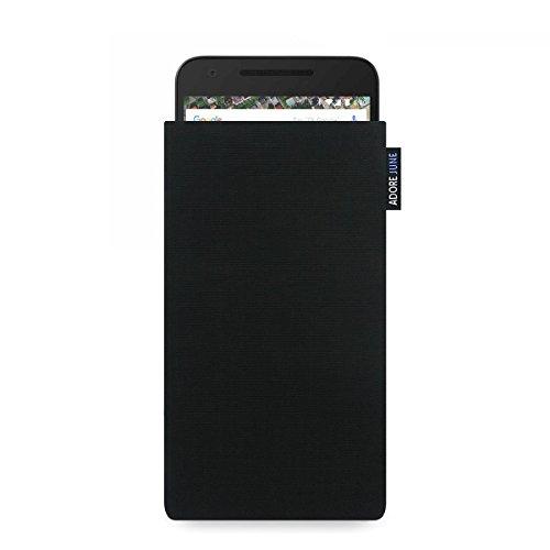 Adore June Classic Schwarz Tasche für LG Google Nexus 5X Handytasche aus beständigem Cordura Stoff | Robustes Zubehör mit Bildschirm Reinigungs-Effekt | Made in Europe