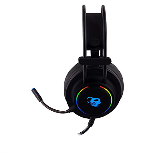 CoolBox DeepLighting – Auriculares gaming con micrófono omnidireccional e iluminación LED, control de volumen, compatibles con PC, PS4 y Xbox One (incluye adaptador), Ajustable