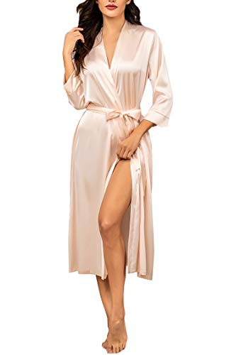 Hotouch Women's Silk Robes Long Satin Kimono Robes Bridesmaids Bride Sleepwear Pink