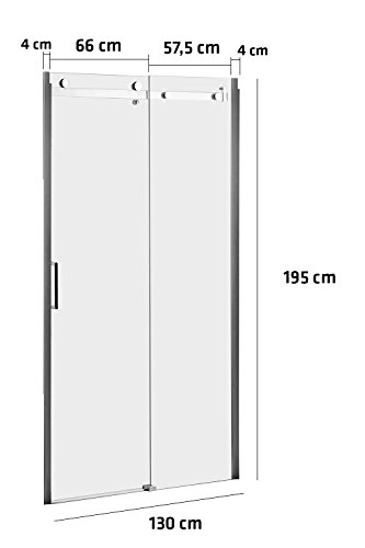 CLP Duschkabine KUONI, Duschabtrennung, Nischentür, Nano-Beschichtung, 8 mm Sicherheitsglas, Verschiedene Größen erhältlich, 130x195 cm