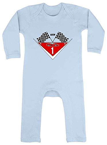 """Hariz - Pelele para bebé, diseño de coche de carreras con texto en alemán """"Ich Bin Schon Eins Rennauto 1 cumpleaños"""", color azul claro"""