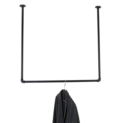 Deckengarderobe schwarz Metall - verschiedene Größen - Kleiderstange Deckenmontage für Kleiderbügel - Garderobe Industrial Design für die Decke