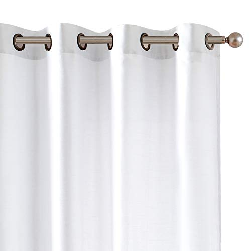 White Faux Silk Curtains for Bedroom Dupioni Light Reducing Window Curtain for Living Room Satin Drapes Privacy Window Treatments Grommet Top 95 inch Long 2 Panels
