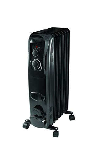 PELONIS HO-17LA1B Basic Electric Oil Filled Radiator, 1500W Portable Full Room Radiant Space Heater with Adjustable Thermostat, for Home & Office,Black