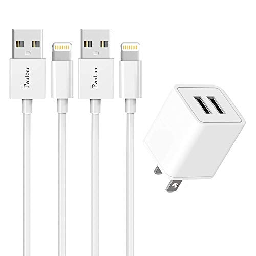Pantom Dual USB Wall Charger (UL Listed) and 2-Pack 5-Feet Cable Cord Charging Compatible with iPhone 11/11 Pro Max/XS/XS MAX/XR/X/8/8 Plus/7/7 Plus/6s/6s Plus/5s/SE/5c iPad Pro/Mini/Air