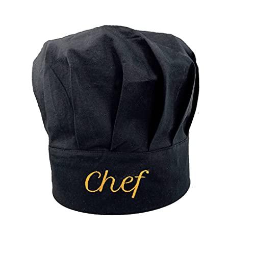Pet-Jos Chef Kochmütze Unisex Kochmütze aus Baumwolle Küche Hotel Restaurant Gastro-Hüte Einstellbar für Männer, Frauen, Kochen, Schwarz