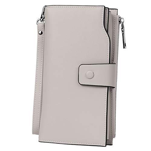 YALUXE Portefeuille Femme Cuir Véritable Porte Cartes chequier Portable Blocage RFID Grande Capacité Simple Mode Gris Clair
