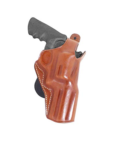 Premium Leather Paddle Holster OWB with Thumb Break Fits Smith Wesson Model 500 Magnum X-Frame 4' BBL R/H Draw, Brown Color #1433#