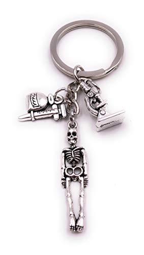 H-Customs Esqueleto médico Esqueleto microscopio jeringa Plata Llavero Colgante
