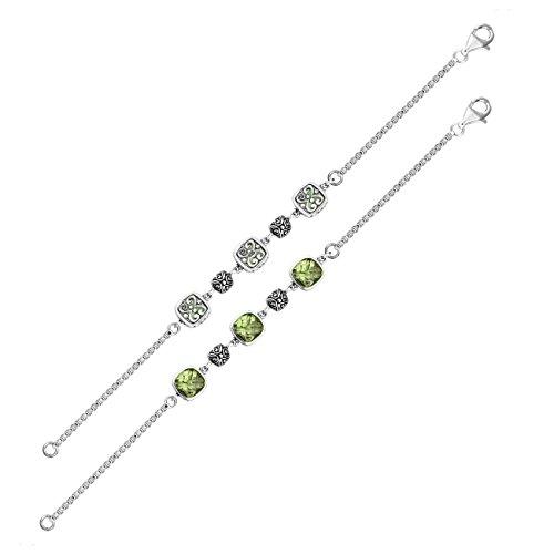 Pulsera de plata de ley con amatista verde de cuarzo AB-9007-GAM