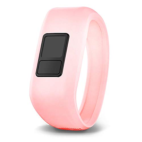 iBREK for Garmin Vivofit jr/jr 2/3 Bands, Silicon Stretchy Replacement Watch Bands for Kids Boys Girls Small Large(No Tracker)-Small,Phosphorescent Pink