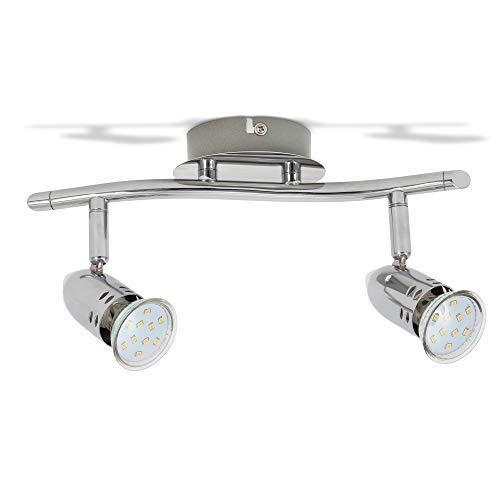 B.K.Licht Faretti LED da soffitto orientabili, Plafoniera LED, include 2 lampadine GU10 da 3W 250Lm, luce calda 3000K, lampadario moderno in metallo cromato per cucina o camera da letto, 230V, IP20