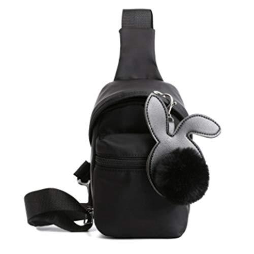 Kaned Bolsas de hombro de nylon ocasionales multifunción resistente al agua cremallera pecho Pack ligero bolsa de viaje, negro