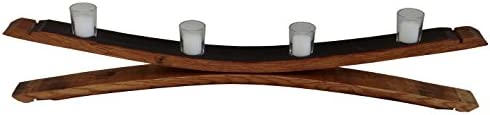 Evans Family Barrels Rustic Mirror Style Wine Barrel Stave Votive Candle Holder 4 Candle in product image