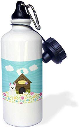 GFGKKGJFD612 - Figura Decorativa de Perro con Hueso al Lado de la caseta con diseño de pájaros en el Techo, Flores, Botella de Agua Deportiva de Aluminio para cumpleaños, Color Blanco