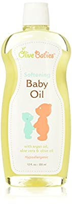 Baby Oil Multi Purpose with Argan Oil, Aloe Vera & Olive Oil 12 oz - Softening Hypoallergenic Solution for All Skin Types - Good on Men, Women & Kids