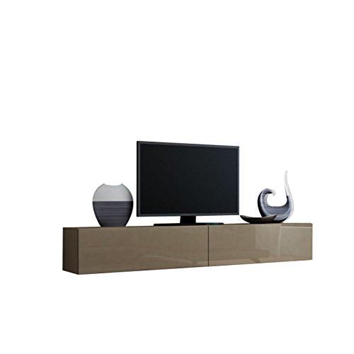Mirjan24 TV Schrank Vigo, Fernsehschrank, TV Lowboard mit Grifflose Öffnen, Hängeschrank Hochglanz Matt Wohnwand (Länge: 180 cm, Latte/Latte Hochglanz)